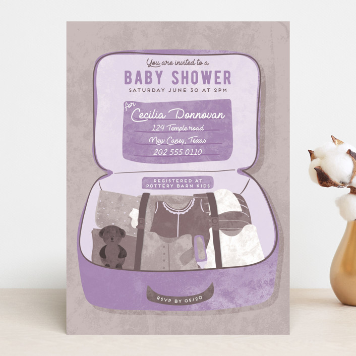 """""""Maternity Suitcase"""" - Baby Shower Invitations in Clementine by Gwen Bedat."""