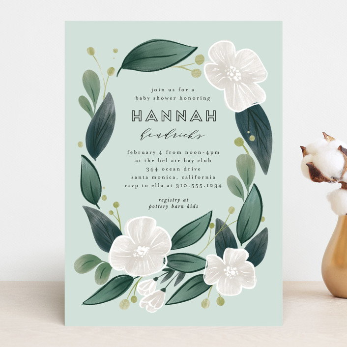"""""""Wreath in Bloom"""" - Baby Shower Invitations in Cherry Blossom by Leah Bisch."""