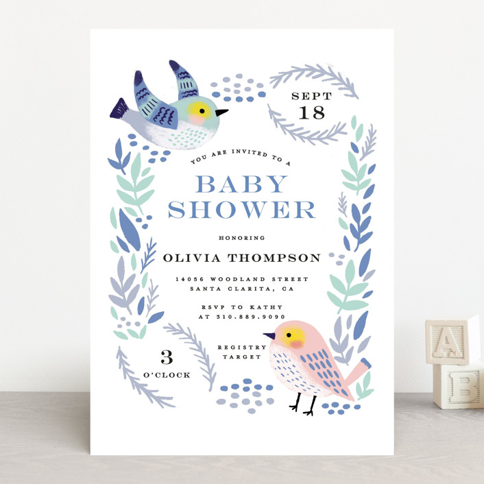 """Bird Couple"" - Baby Shower Invitations in Aquarium by iamtanya."