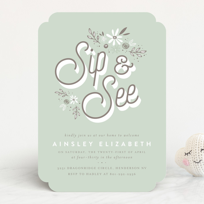 """fleur bebe"" - Baby Shower Invitations in Mint by Three Kisses Studio."