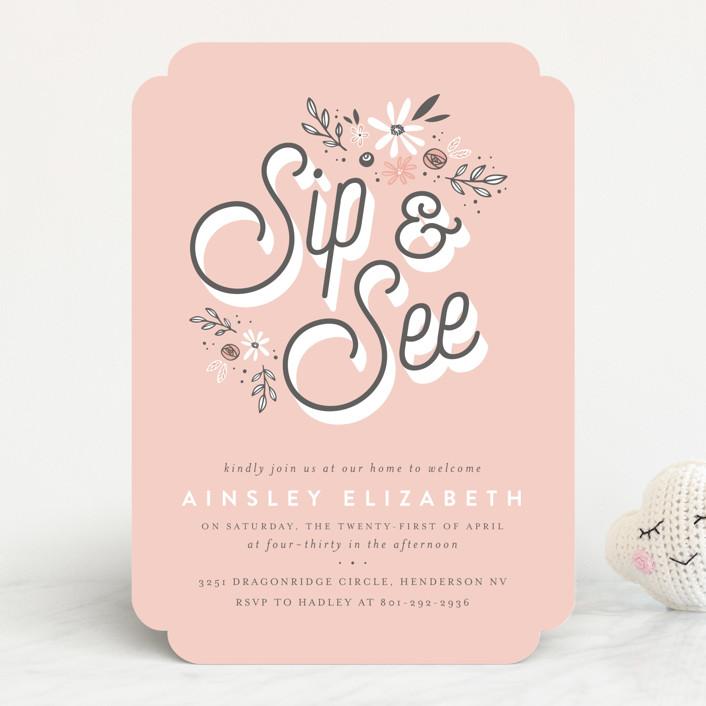 """fleur bebe"" - Baby Shower Invitations in Peony by Three Kisses Studio."