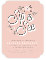 This is a pink baby shower invitation by Three Kisses Studio called fleur bebe with standard printing on signature in standard.