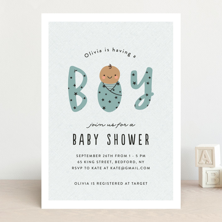 """Swaddled"" - Baby Shower Invitations in Sky by Annie Holmquist."