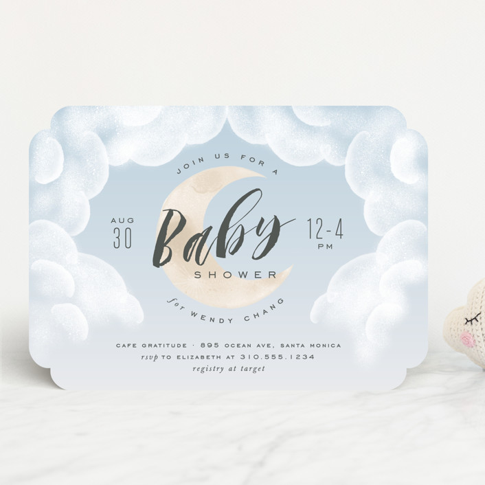 """Moon And Back"" - Baby Shower Invitations in Ocean Mist by Leah Bisch."