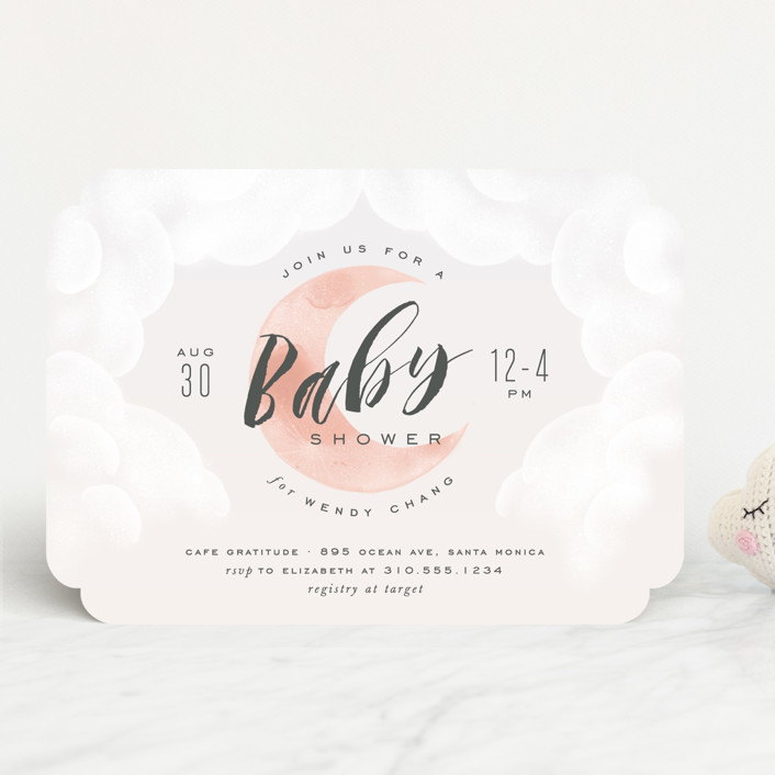 """""""Moon And Back"""" - Baby Shower Invitations in Ocean Mist by Leah Bisch."""
