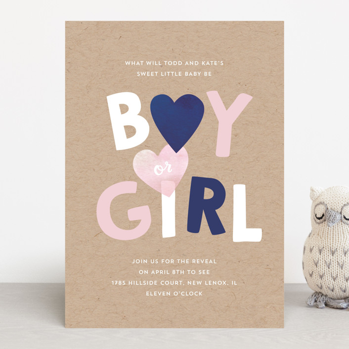 """Baby Blue or Pink"" - Baby Shower Invitations in Navy by Baumbirdy."