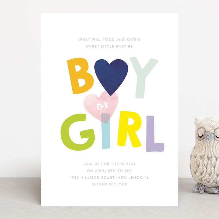 """""""Baby Blue or Pink"""" - Baby Shower Invitations in Navy by Baumbirdy."""