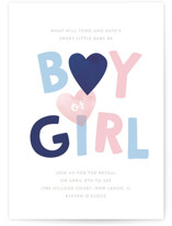 This is a blue baby shower invitation by Baumbirdy called Baby Blue or Pink with standard printing on signature in standard.