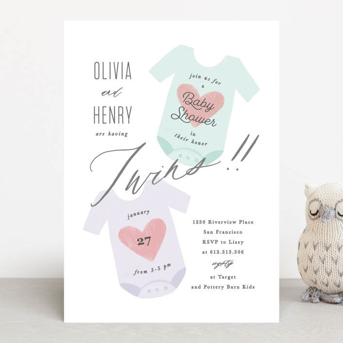 """Twinning"" - Baby Shower Invitations in Cotton Candy by Creo Study."