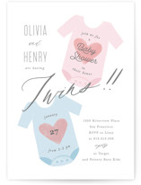 This is a pink baby shower invitation by Creo Study called Twinning with standard printing on signature in standard.