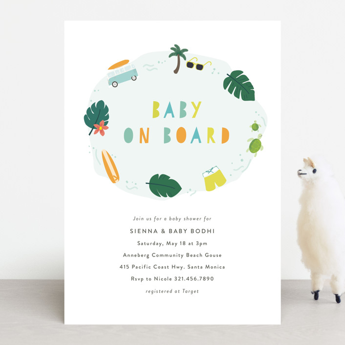 """""""Baby on Board"""" - Baby Shower Invitations in Citrus by Itsy Belle Studio."""