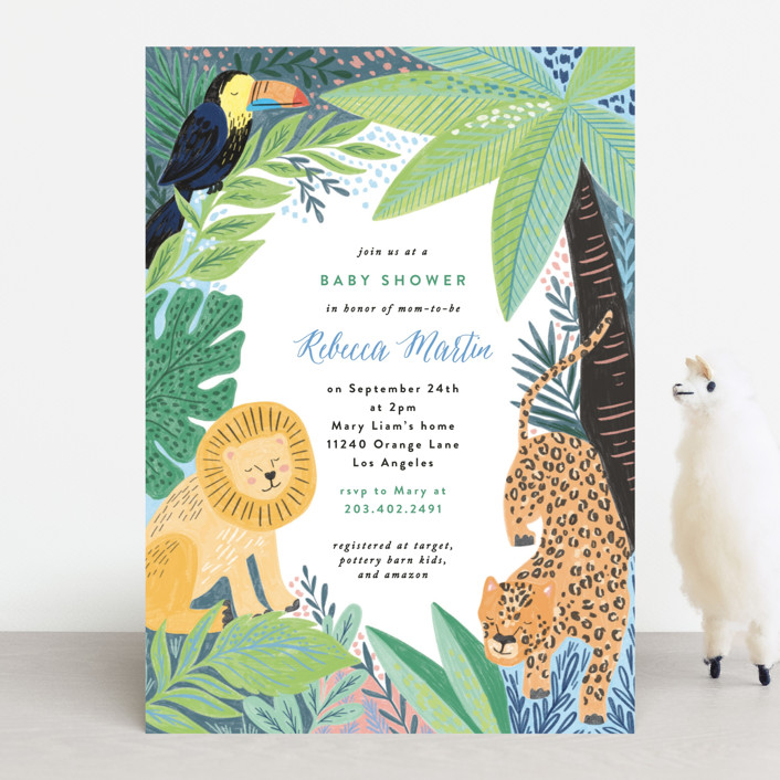 """""""Jungle Animal Sketchbook"""" - Baby Shower Invitations in Canary by Alethea and Ruth."""