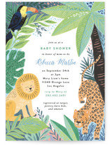 This is a colorful baby shower invitation by Alethea and Ruth called Jungle Animal Sketchbook with standard printing on signature in standard.