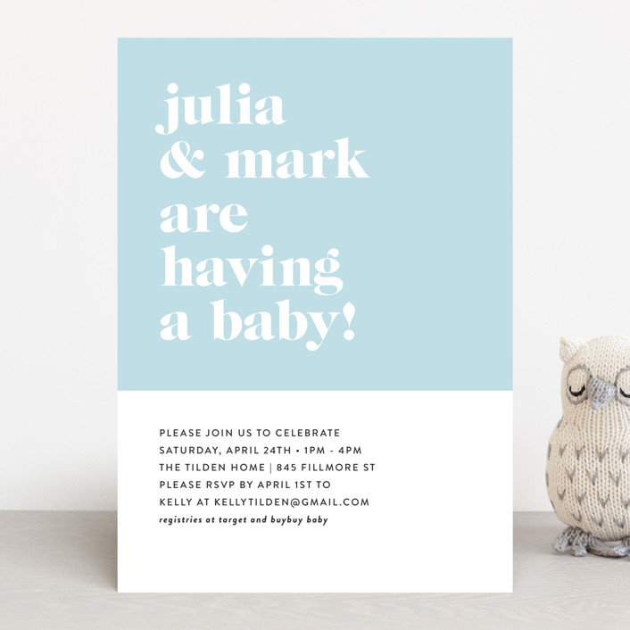 """Modern Block"" - Baby Shower Invitations in Baby Blue by Roxy Cervantes."