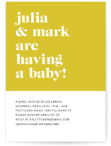 This is a yellow baby shower invitation by Roxy Cervantes called Modern Block with standard printing on signature in standard.