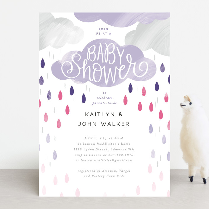"""Rainy Day Baby Shower"" - Baby Shower Invitations in Mint by Alethea and Ruth."