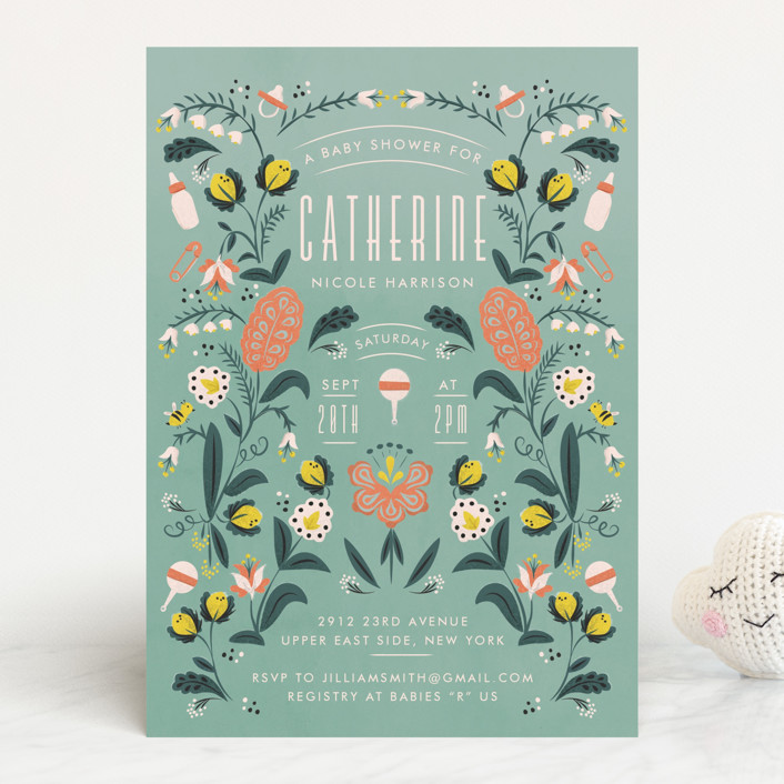 """Framed by nature"" - Baby Shower Invitations in Pear by Ana de Sousa."