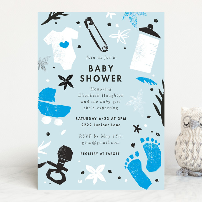 """baby shower cut outs"" - Baby Shower Invitations in Baby Blush by Eleanor Mayrhofer."