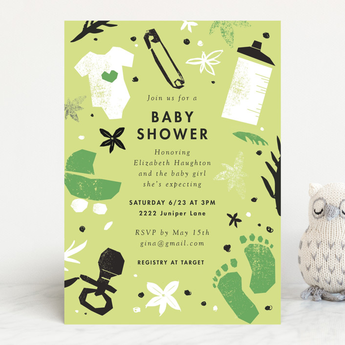 """""""baby shower cut outs"""" - Baby Shower Invitations in Baby Blush by Eleanor Mayrhofer."""