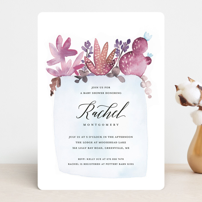 """""""New in the Pot"""" - Baby Shower Invitations in Peony by Petra Kern."""
