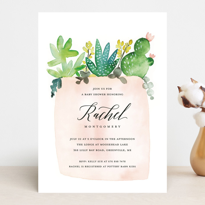 """New in the Pot"" - Baby Shower Invitations in Peony by Petra Kern."