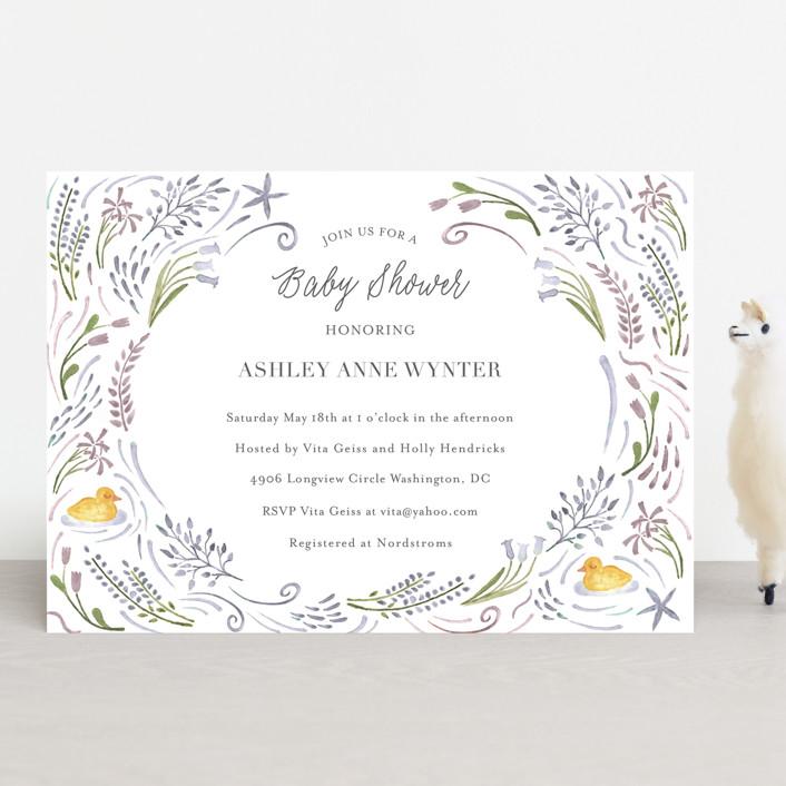 """""""Make Way Ducklings"""" - Baby Shower Invitations in Raspberry by Hallie Fischer."""