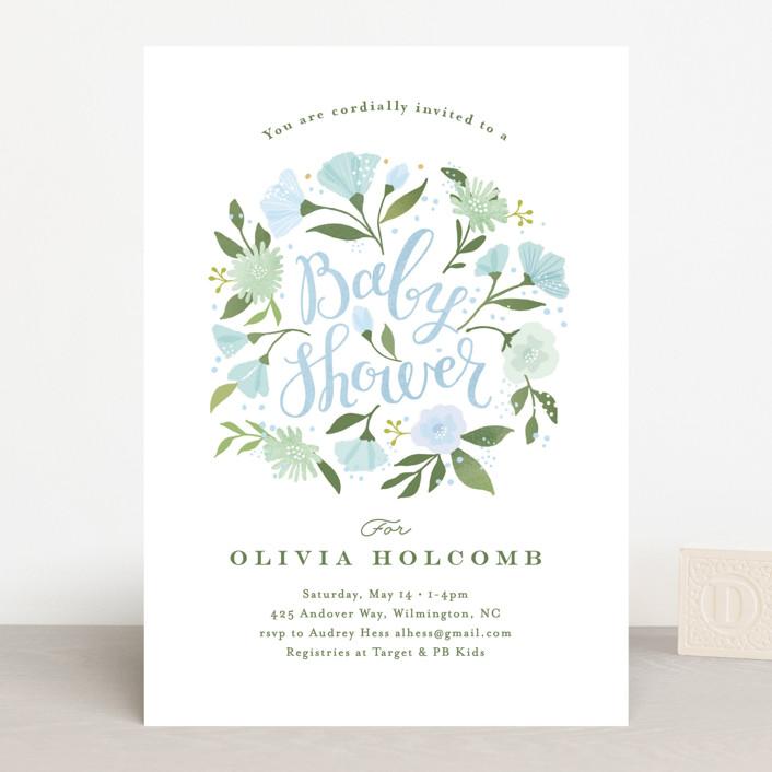 """""""Freshly cut flowers"""" - Baby Shower Invitations in Dusty Rose by Jennifer Wick."""