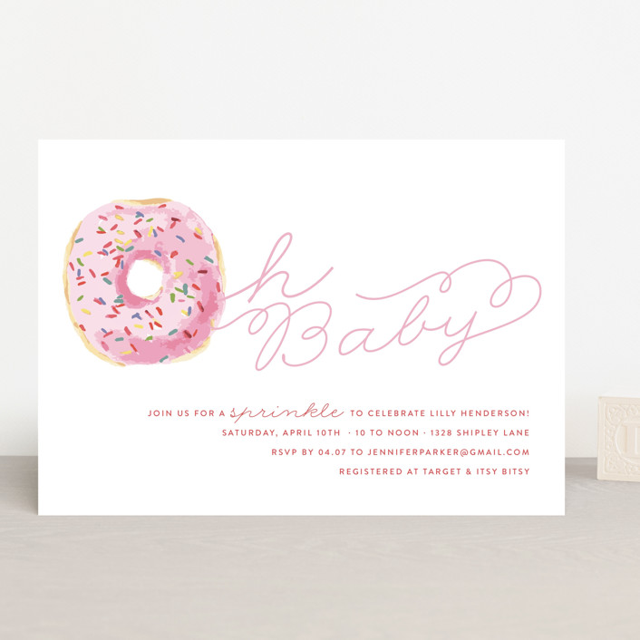 """""""Sprinkle Me One"""" - Baby Shower Invitations in Bubblegum by Lagniappe Paper."""