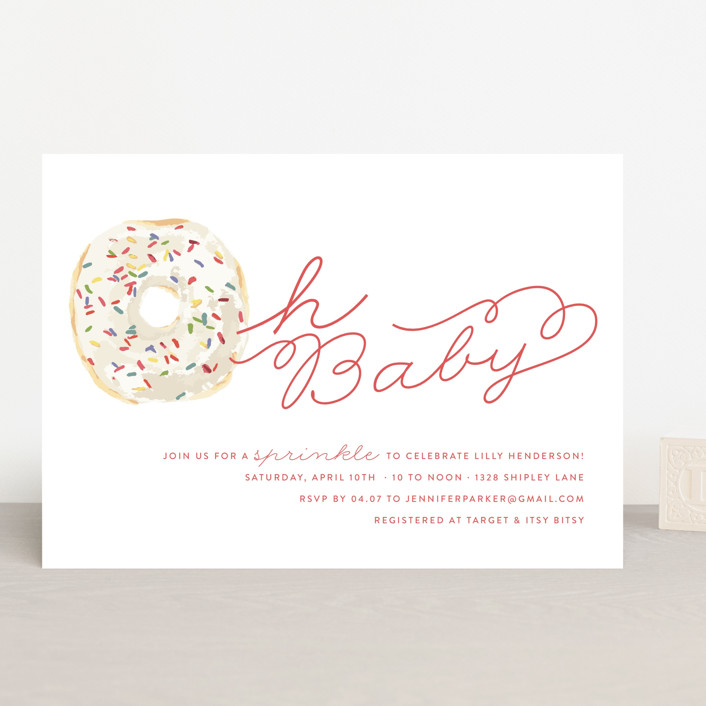 """Sprinkle Me One"" - Baby Shower Invitations in Bubblegum by Lagniappe Paper."