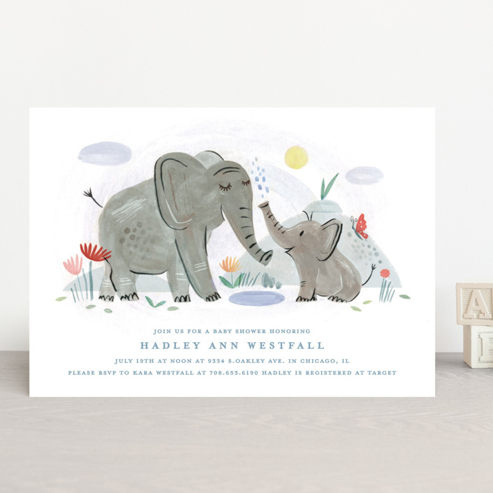 """Playful Elephants"" - Baby Shower Invitations in Indigo by Morgan Ramberg."