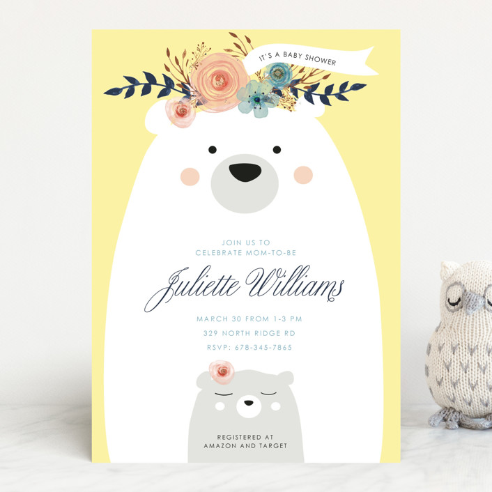 """Mama Bear, Baby Bear"" - Baby Shower Invitations in Blush by Hannah Williams."