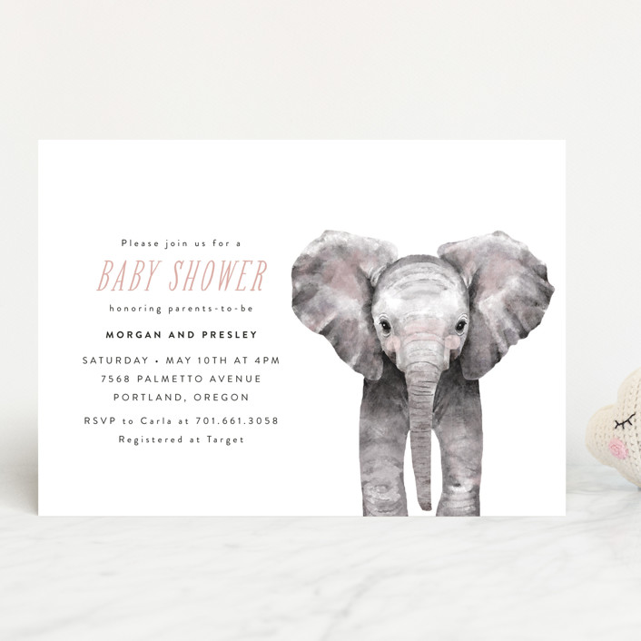 """""""Baby Elephant"""" - Baby Shower Invitations in Blush by Cass Loh."""