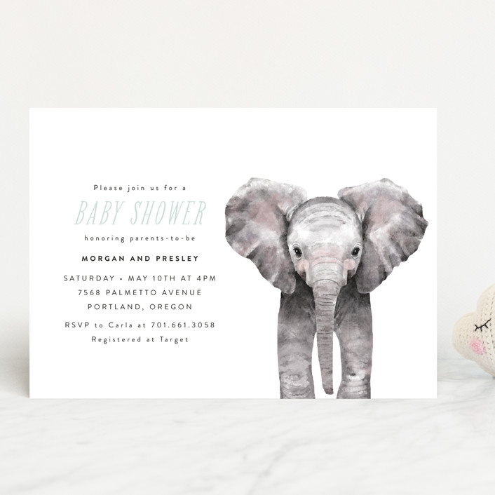 """Baby Elephant"" - Baby Shower Invitations in Blush by Cass Loh."