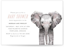 This is a pink baby shower invitation by Cass Loh called Baby Elephant with standard printing on signature in standard.