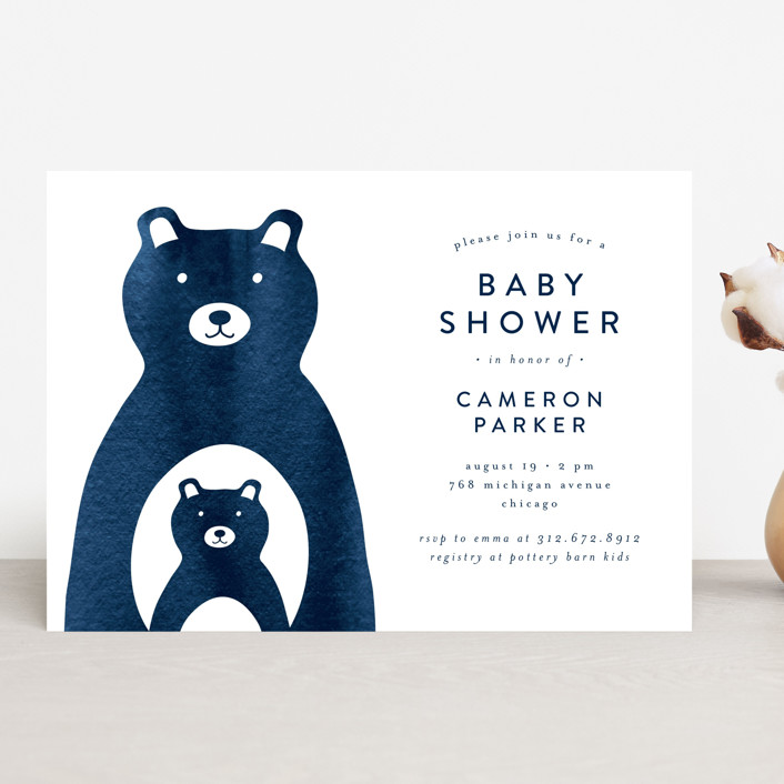 """""""Mama and Me"""" - Baby Shower Invitations in Navy by Lehan Veenker."""