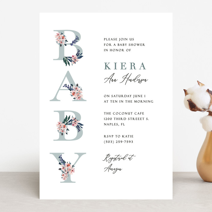 """""""Baby's Alphabet"""" - Baby Shower Invitations in Sky by Nicole Whiddon."""
