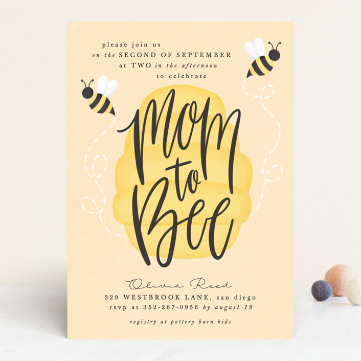 Mom To Bee Baby Shower Invitations By