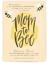 This is a yellow baby shower invitation by Ally Madison called mom to bee with standard printing on signature in standard.