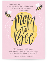This is a pink baby shower invitation by Ally Madison called mom to bee with standard printing on signature in standard.