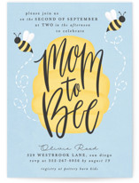 This is a blue baby shower invitation by Ally Madison called mom to bee with standard printing on signature in standard.