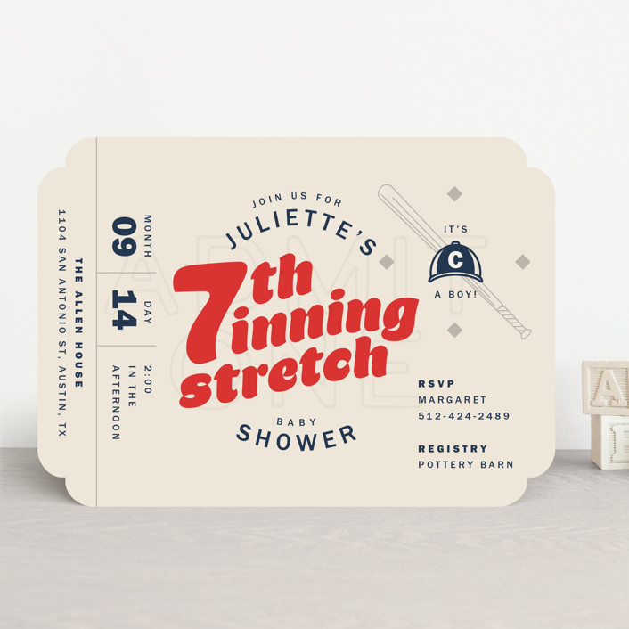 """""""Seventh Inning Stretch"""" - Funny Baby Shower Invitations in Pastime by Andrew McClintock."""