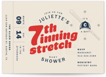 This is a red baby shower invitation by Andrew McClintock called Seventh Inning Stretch with standard printing on signature in standard.