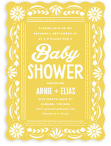 This is a yellow baby shower invitation by Jessie Steury called Pretty Picado with standard printing on signature in standard.