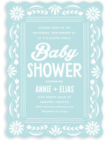 This is a blue baby shower invitation by Jessie Steury called Pretty Picado with standard printing on signature in standard.