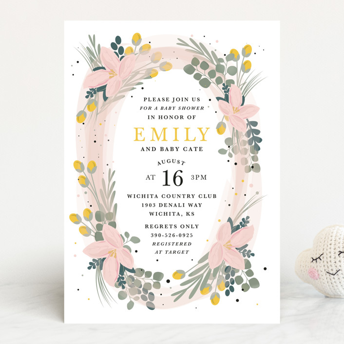 """Floral Oval"" - Baby Shower Invitations in Blush by Bethany Anderson."