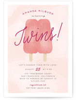 This is a pink baby shower invitation by Ink and Letter called Popsicle Twins with standard printing on signature in standard.