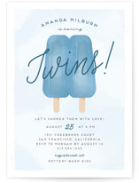 This is a blue baby shower invitation by Ink and Letter called Popsicle Twins with standard printing on signature in standard.