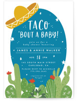 This is a blue baby shower invitation by Joanna Griffin called Nacho Baby with standard printing on signature in standard.