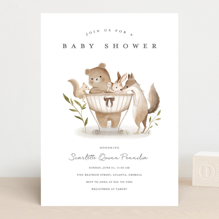 """Woodland Baby"" - Whimsical & Funny Baby Shower Invitations in Neutral by Vivian Yiwing."