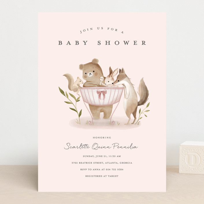"""""""Woodland Baby"""" - Whimsical & Funny Baby Shower Invitations in Neutral by Vivian Yiwing."""